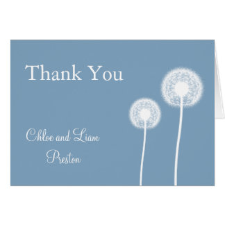Blue Best Wishes Wedding Thank You Card