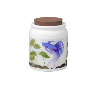 Blue Betta Fish Candy Jar