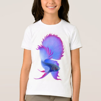 Blue Betta Fish Kids Ringer T-Shirt