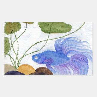 Blue Betta Fish Rectangular Sticker