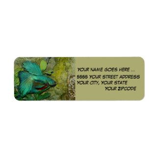 Blue Betta fish Return Address Labels