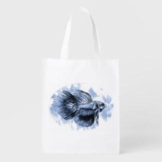 Blue Betta Fish Reusable Grocery Bag