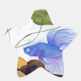 Blue Betta Fish Star Sticker