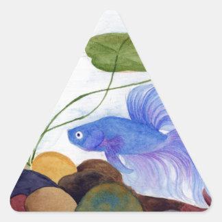 Blue Betta Fish Triangle Sticker