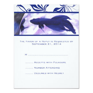 Blue Betta Fish Wedding RSVP card