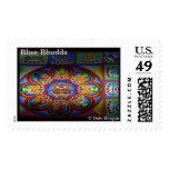 Blue Bhudda Sand Mandala design. Stamp