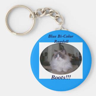 Blue Bi-Color Ragdoll Cat Keychain