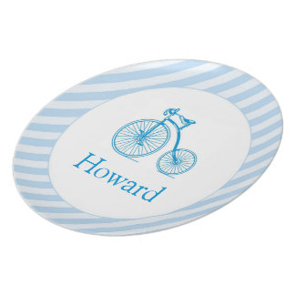 Blue Bicycle Boy Plate