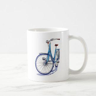 Blue bicycle drawing coffee mugs