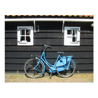 Blue Bicycle Dutch House in Holland Postcard