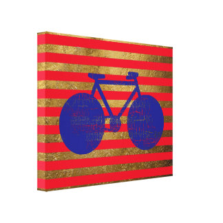 blue bicycle & golden/red stripes canvas print