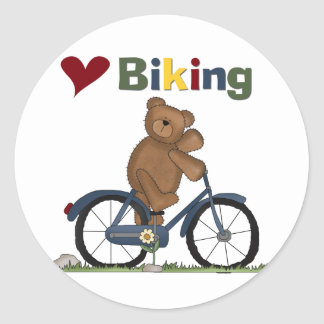 Blue Bicycle I Love Biking Tshirts and Gifts Classic Round Sticker