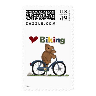 Blue Bicycle I Love Biking Tshirts and Gifts Postage Stamp