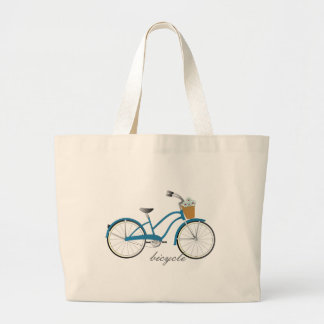 Blue Bicycle Large Tote Bag