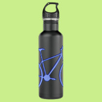 Blue bicycle on a 24 oz. water bottle. water bottle