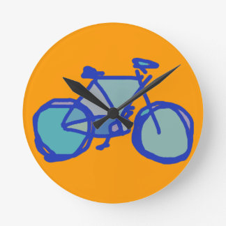 blue bicycle round clock
