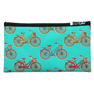 Blue Bicycle Suede Cosmetic Bag