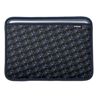 blue bicycles over black MacBook air sleeve
