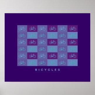 blue bicycles patterning print