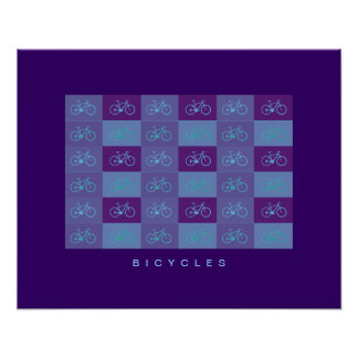 blue bicycles patterning print