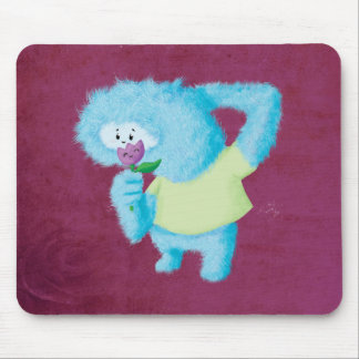 Blue Big Furry Monster Mouse Pad