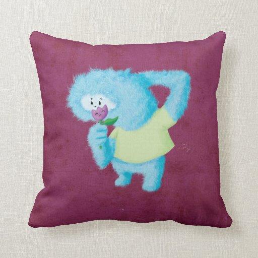 Big Blue Throw Pillows : Blue Big Furry Monster Throw Pillow Zazzle