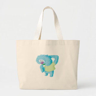 Blue Big Furry Monster Tote Bags