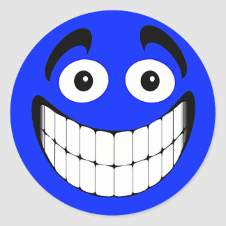 Blue Big Grin Smiley Face Sticker