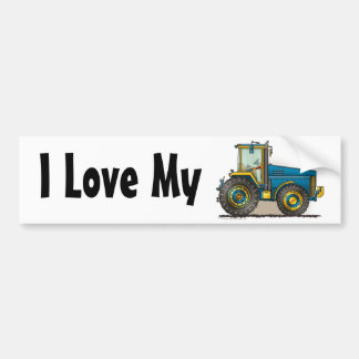"""Blue Big Tractor, I Love My…Bumper Stickers"" Bumper Sticker"