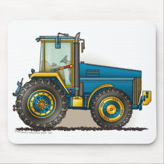 Blue Big Tractor Mouse Pads