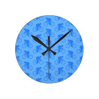 Blue Bike Pattern. Round Wallclock