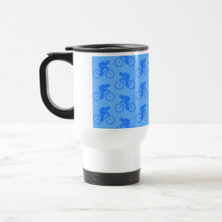 Blue Bike Pattern. Travel Mug