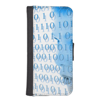 Blue Binary Girl Phone Wallet Case