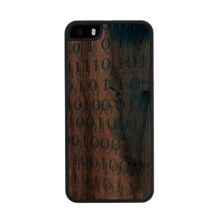 Blue Binary Girl Carved® Walnut iPhone 5 Case