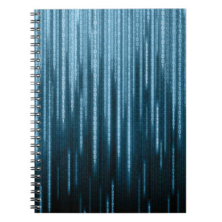Blue Binary Rain Notebook