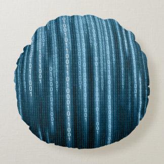 Blue Binary Rain Round Pillow