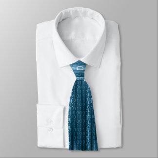 Blue Binary Rain Tie