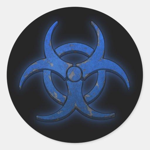 Blue Biohazard Classic Round Sticker