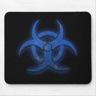 Blue Biohazard Mouse Pads