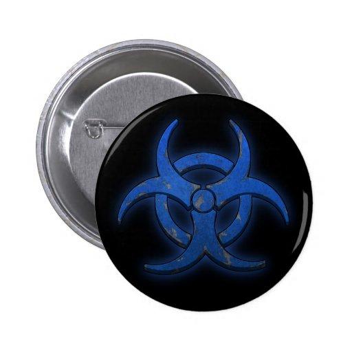 Blue Biohazard Pinback Button