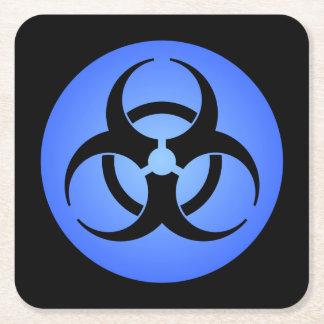 Blue Biohazard Symbol Square Paper Coaster
