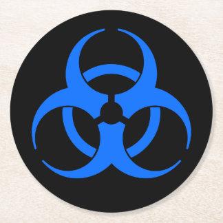 Blue Biohazard Symbol Round Paper Coaster