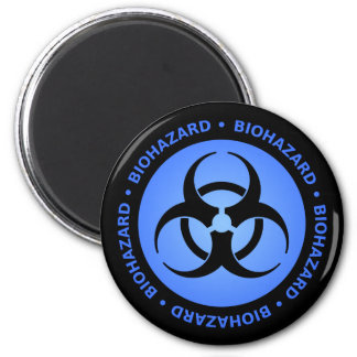 Blue Biohazard Warning Magnet