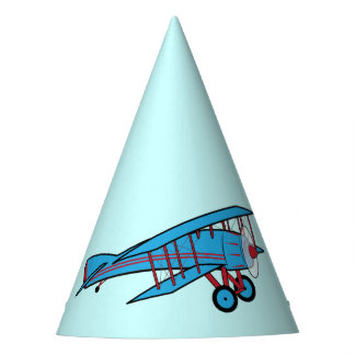 Blue Biplane Birthday Party Hat