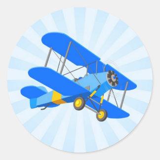 Blue Biplane Graphic with Star Burst Classic Round Sticker
