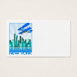 Blue Biplane Over New York Retro Design Business Card