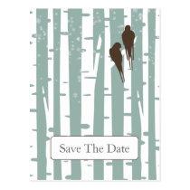 blue birchtree lovebirds winter save the date postcard