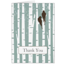 blue birchtree lovebirds winter wedding Thank You Card