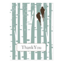 blue birchtree lovebirds winter wedding Thank You Postcard