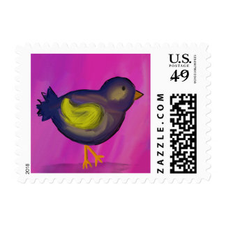 Blue Bird Acrylic Painted Postage Stamp